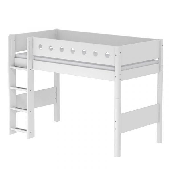 Flexa White Semi-High Bed With Straight Ladder