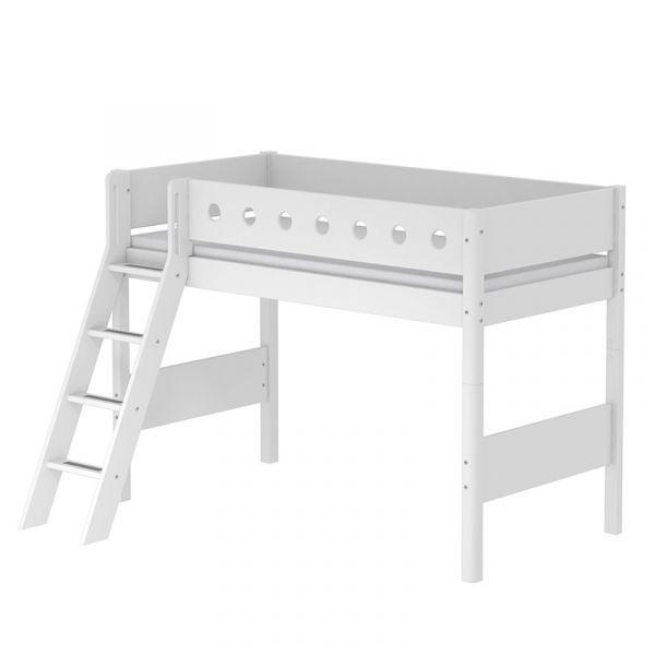 Flexa White Semi-High Bed With Slanting Ladder