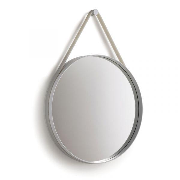 Hay Strap Mirror 50cm Diameter Grey