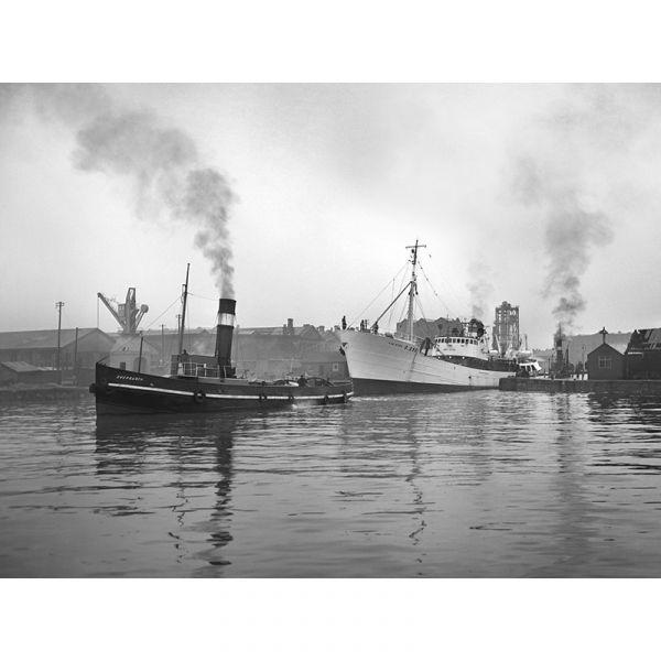 'Van Dyck' Hull Docks 1950's 40x30in Canvas Print
