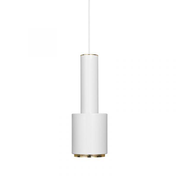 Artek A110 Hand Grenade Pendant Light White Shade Brass Plated Ring