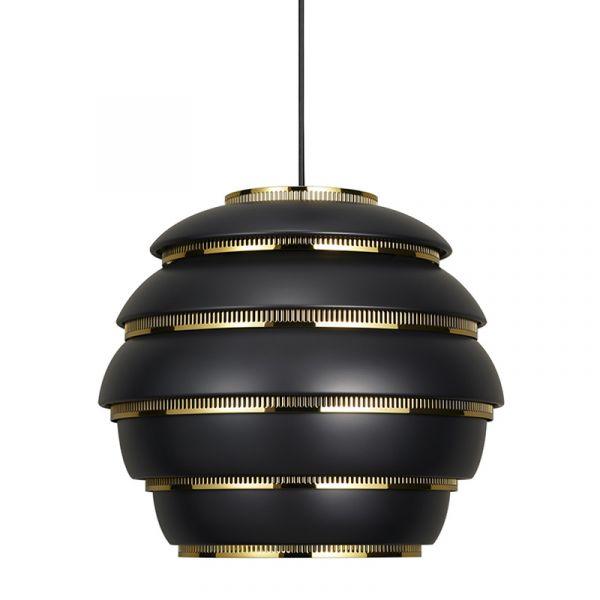 Artek A331 Beehive Pendant Light Black with Brass Plated Steel Rings