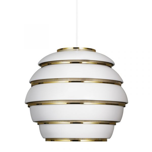 Artek A331 Beehive Pendant Light White with Brass Plated Steel Rings