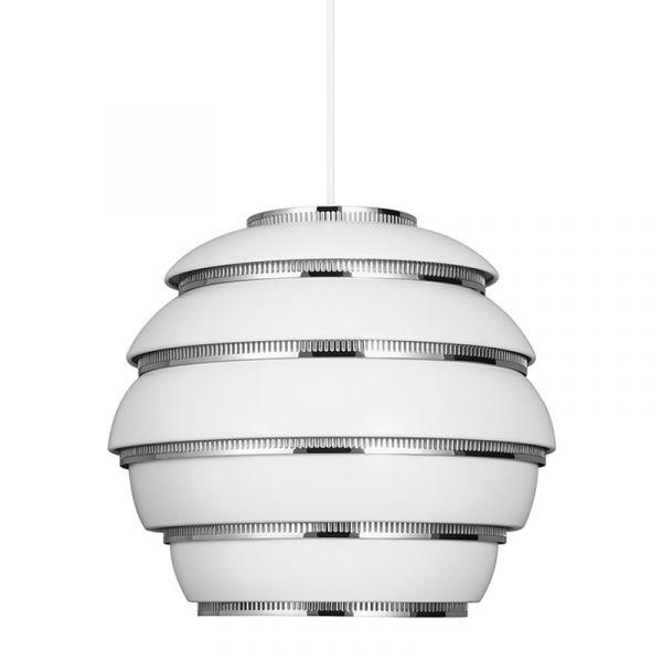 Artek A331 Beehive Pendant Light White with Chrome Plated Steel Rings