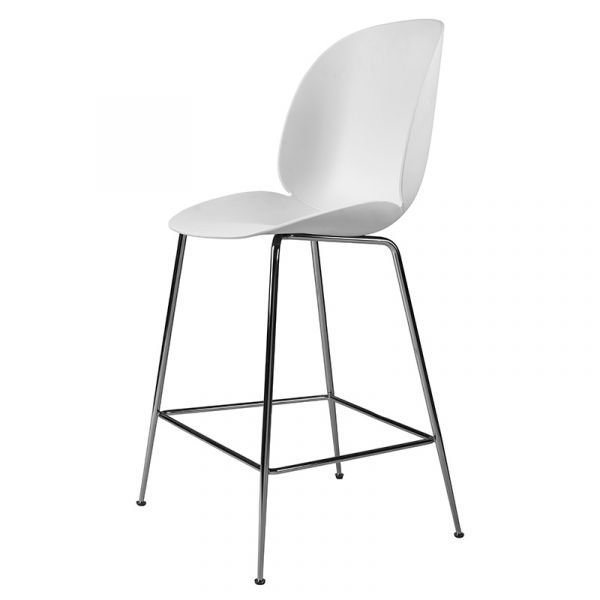 Gubi Beetle Counter Chair Unupholstered H65cm Black Chrome Base
