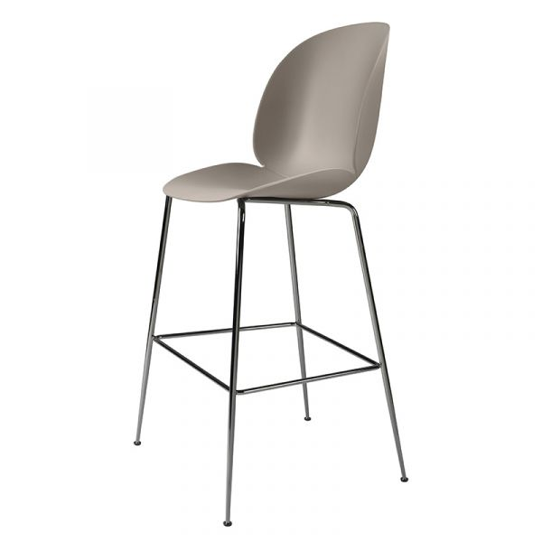 Gubi Beetle Bar Chair Unupholstered H75cm Black Chrome Base