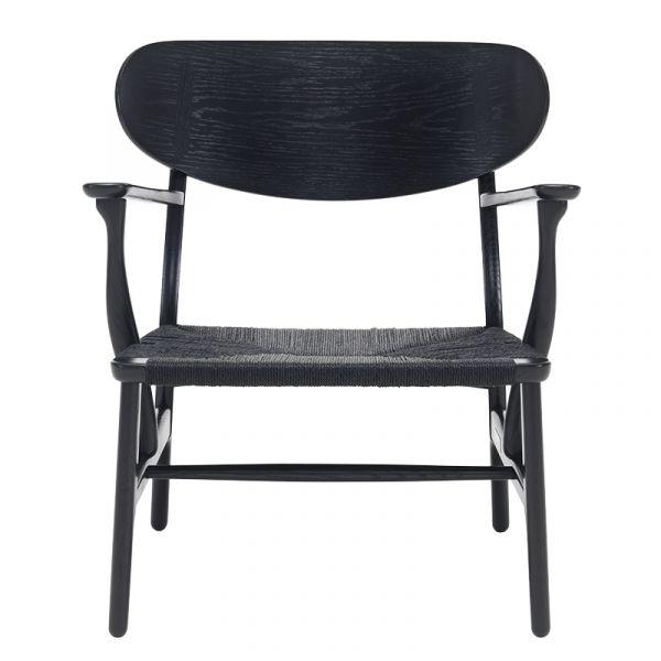 Carl Hansen CH22 Lounge Chair Black Paper Cord