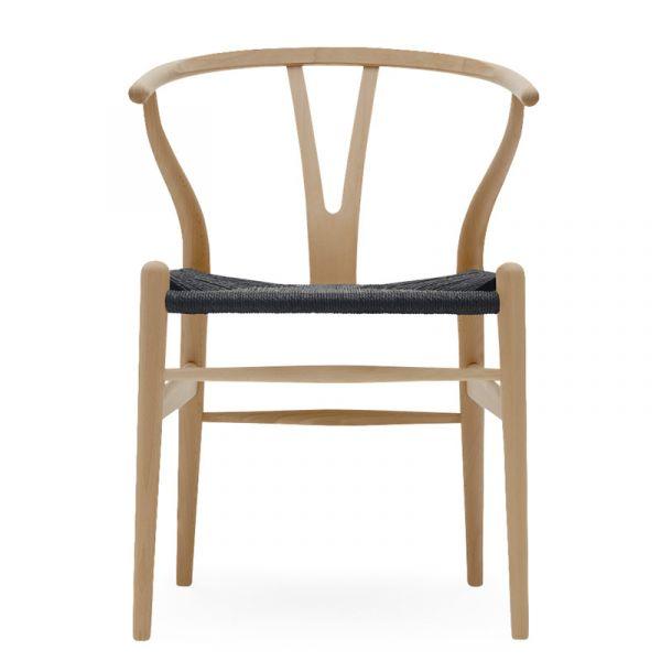 Carl Hansen CH24 Wishbone Dining Chair Black Paper Cord Seat