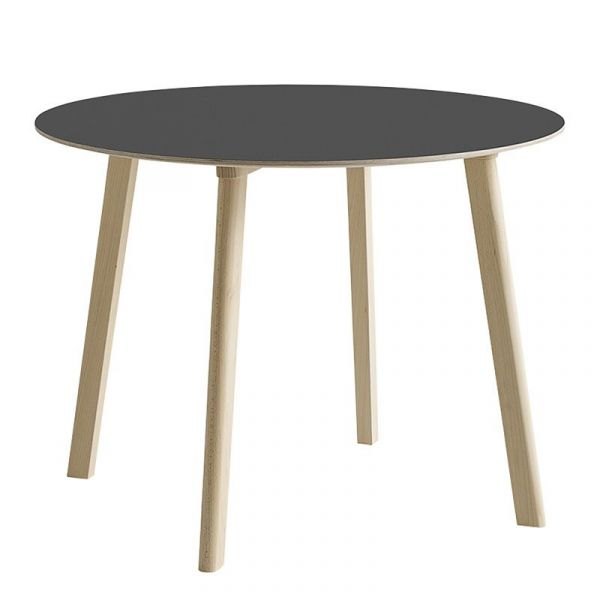 Hay CPH Deux 220 Table Round 98cm Beech Untreated Frame Stone Grey Laminate Top