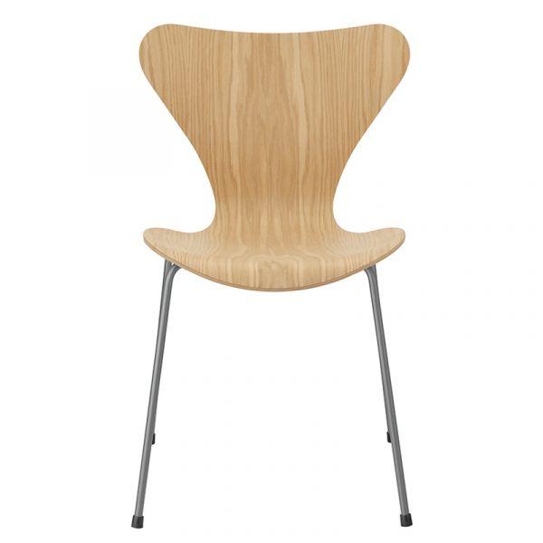 Fritz Hansen 3107 Series 7 Chair Oak Veneer Seat Silver Grey Base