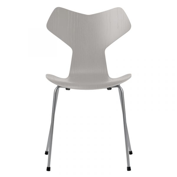 Fritz Hansen 3130 Grand Prix Chair Nine Grey Coloured Ash Seat Silver Grey Base