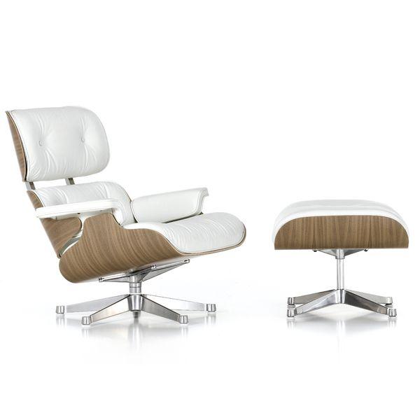 Vitra Eames Lounge Chair & Ottoman White Pigmented Walnut