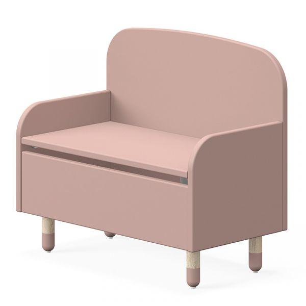 Flexa Dots Storage Bench With Backrest Light Rose