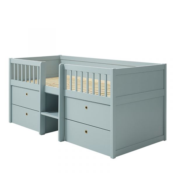 Flexa Freja Euro Low Mid-High Bed With Integrated Storage & Ladder Blue-Ish