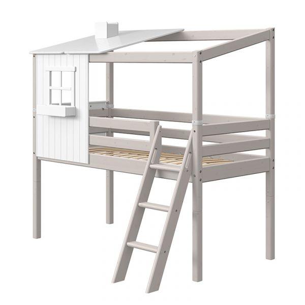 Flexa Midsleeper With Slanting Ladder & Half Classic House Grey Washed/White