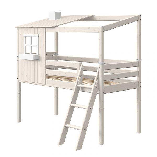 Flexa Midsleeper With Slanting Ladder & Half Classic House White Washed