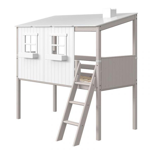 Flexa Euro Midsleeper With Slanting Ladder & Classic House Grey Washed/White
