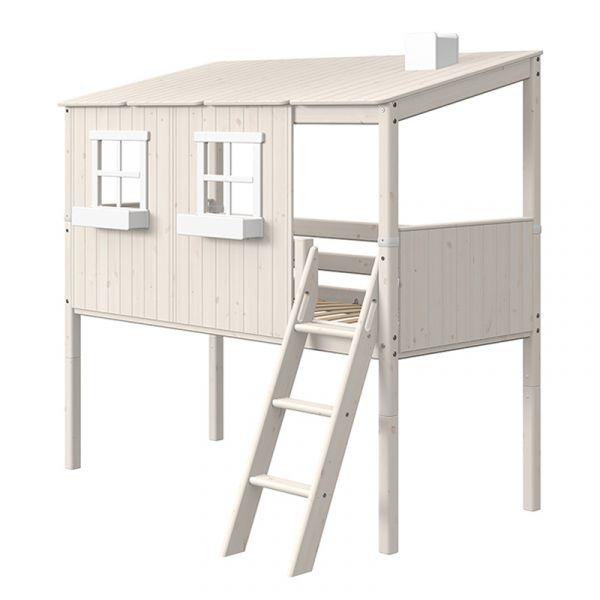 Flexa Euro Midsleeper With Slanting Ladder & Classic House White Washed