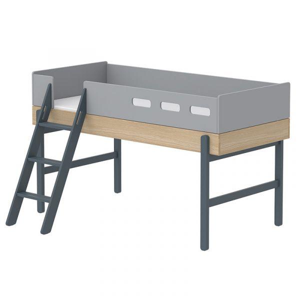 Flexa Popsicle Euro Mid-High Bed Slanting Ladder Blueberry