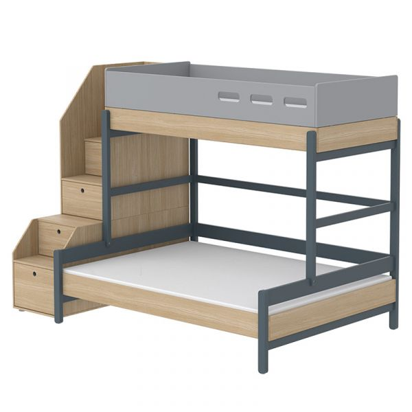 Flexa Popsicle Euro Family Bed with Staircase Blueberry
