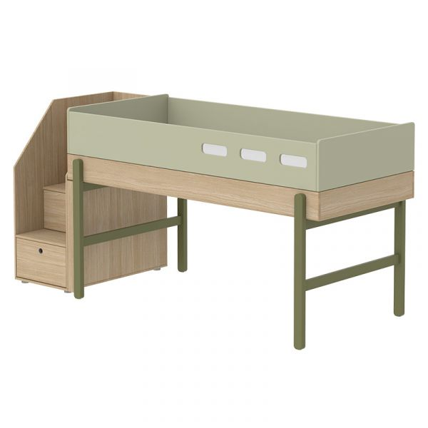Flexa Popsicle Euro Mid-High Bed with Staircase Kiwi