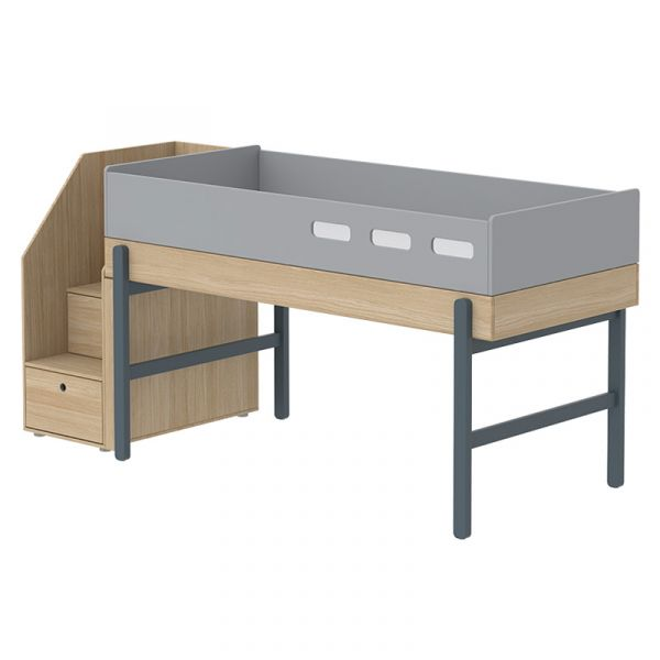 Flexa Popsicle Euro Mid-High Bed with Staircase Blueberry