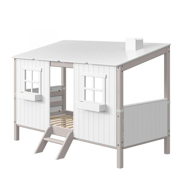 Flexa Euro Single Bed With Classic House Grey Washed/White