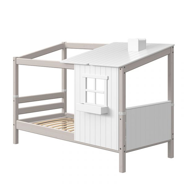 Flexa Single Bed With Half Classic House Grey Washed/White