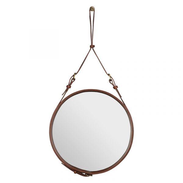 Gubi Adnet Circular Wall Mirror 45cm Tan Leather