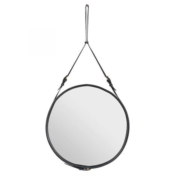 Gubi Adnet Circular Wall Mirror 70cm Black Leather