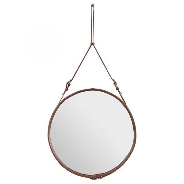 Gubi Adnet Circular Wall Mirror 70cm Tan Leather