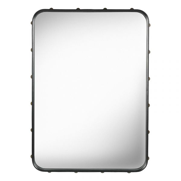 Gubi Adnet Rectangular Wall Mirror 48x70cm Black Leather