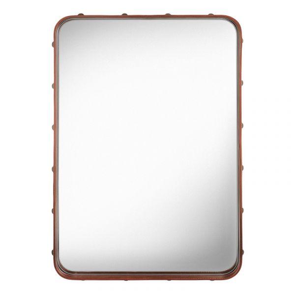 Gubi Adnet Rectangular Wall Mirror 48x70cm Tan Leather