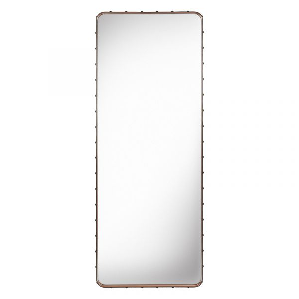 Gubi Adnet Rectangular Wall Mirror 70x180cm Tan Leather