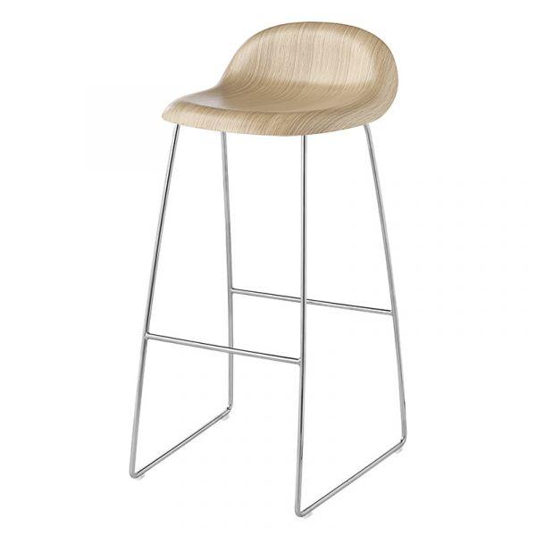 Gubi 3D Bar Stool Unupholstered H75cm Sledge Base