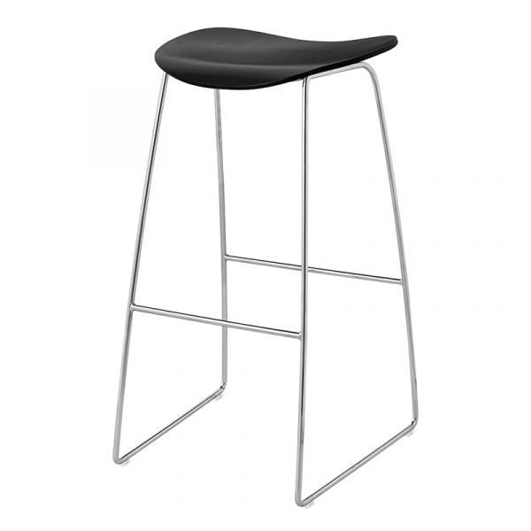 Gubi 2D Bar Stool Unupholstered H75cm Sledge Base