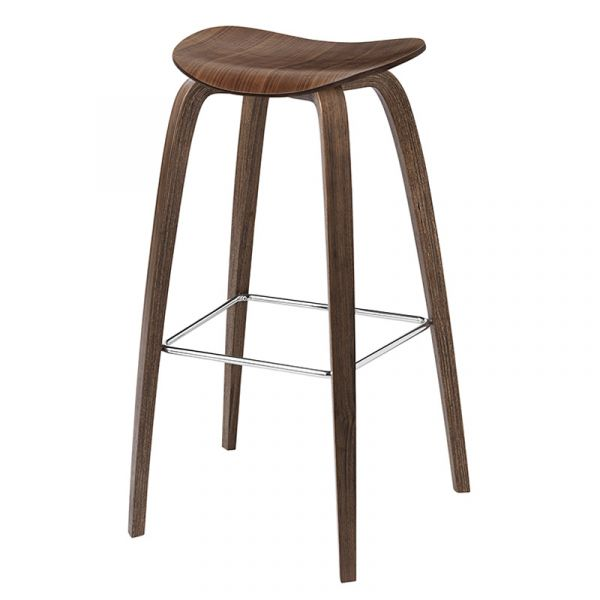 Gubi 2D Bar Stool Unupholstered H75cm Wood Base