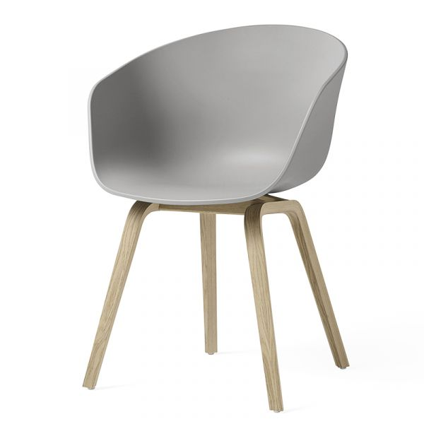 Hay AAC 22 About A Chair Water Based Lacquered Oak Base Concrete Grey Shell