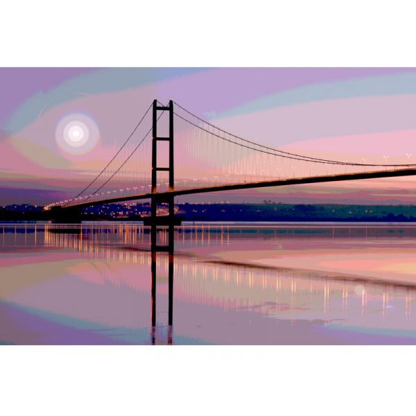 Limited Edition (25) Humber Bridge 60x38in Canvas Print - Purple