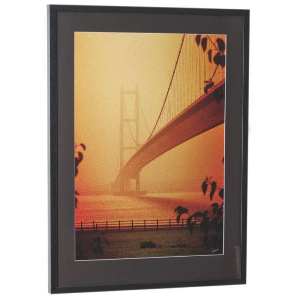 Humber Bridge in the Mist - Orange - Framed Print
