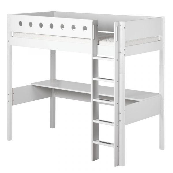 Flexa White High Bed With Desk