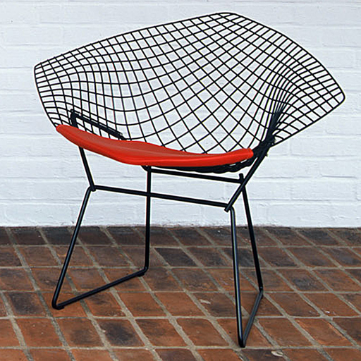 Knoll Bertoia Diamond Armchair with Seat Pad Black Rislan G Grade Fabric