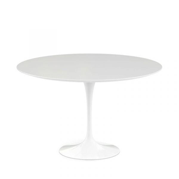Knoll Saarinen Round Dining Table 107cm White Base White Laminate Quickship