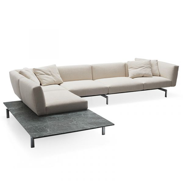 Knoll Avio 4 Seat Sofa With L-Shape End Table Verdi Alpi Marble