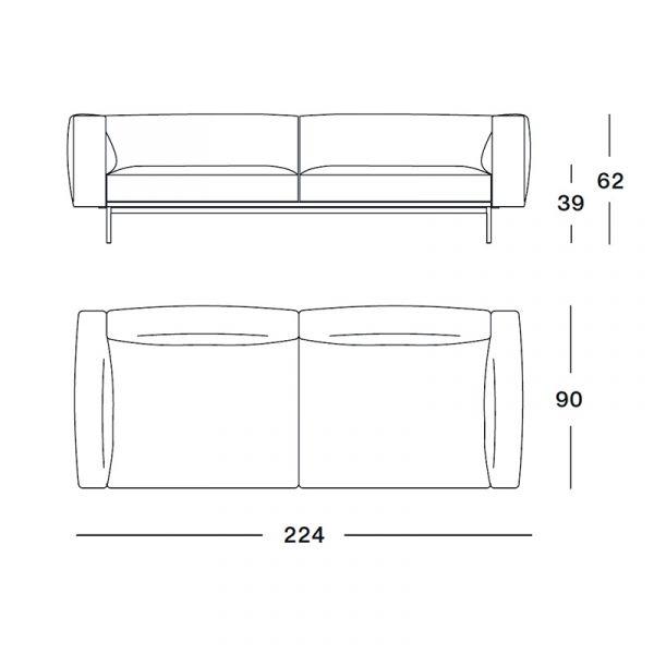 Knoll Matic Compact Sofa 224cm