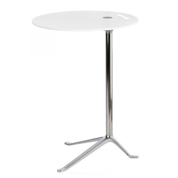 Fritz Hansen KS12 Little Friend Side Table Fixed Height White Laminate Chrome Base