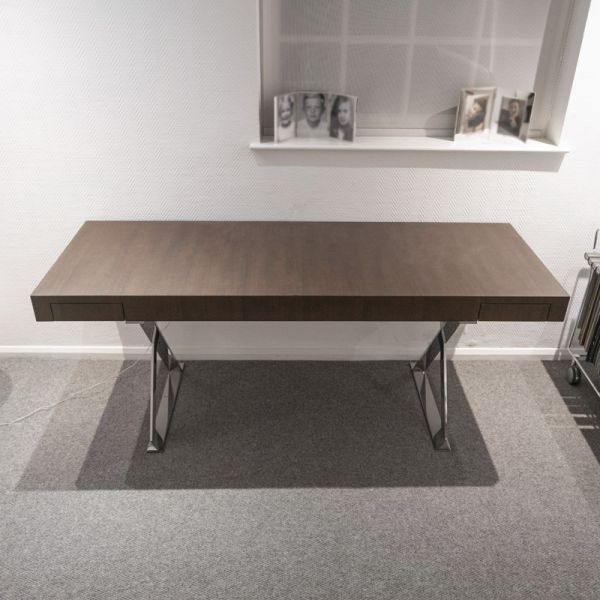 Maxalto SMSCR_CL Max Writing Desk Bright Chromed Frame Smoked Oak Top Ex-Display Was £7305 now £3975