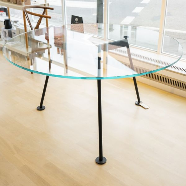 Knoll Grasshopper Round Table 137cm Painted Black Base Extra Clear Glass Ex-Display was £2805 now £1395