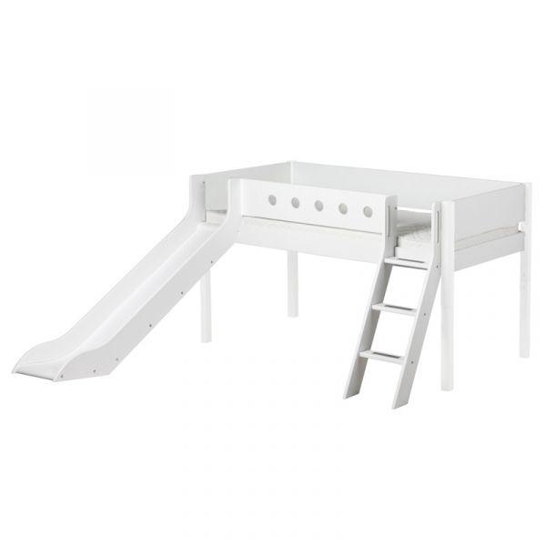 Flexa White Mid-High Bed Slanted Ladder & Slide