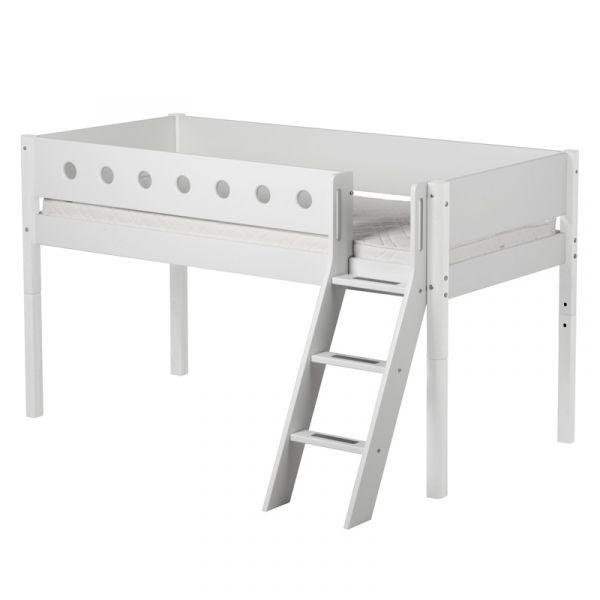 Flexa White Mid-High Bed Slanting Ladder